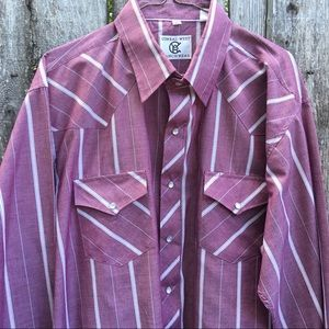 Corral West Western Shirt Burgundy White Stripe XL